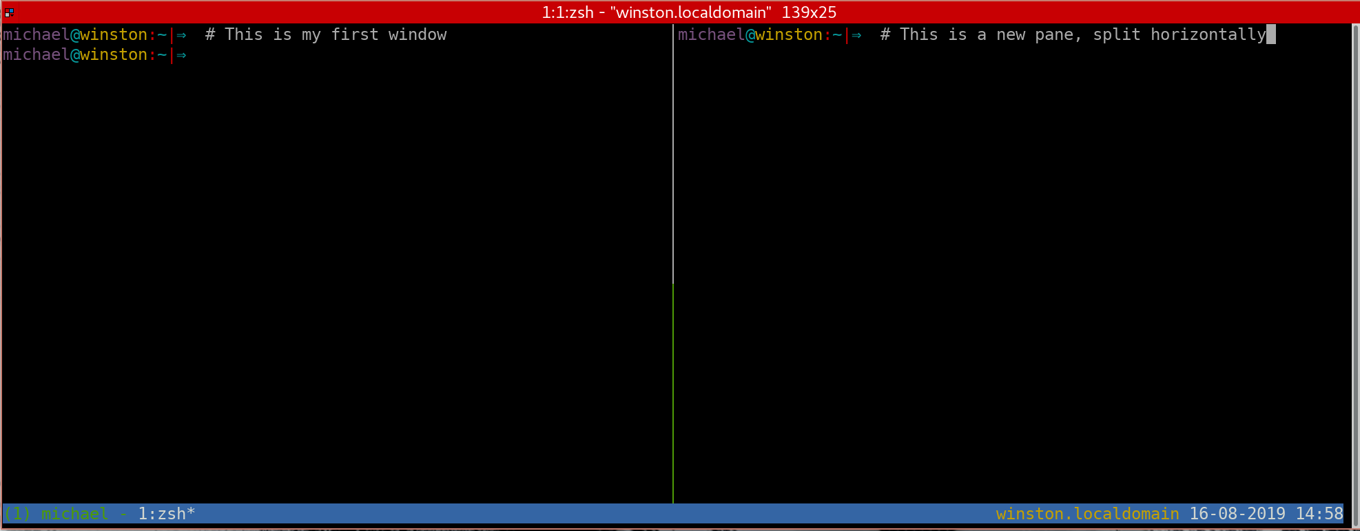 Splitting a tmux window in horizontal panes