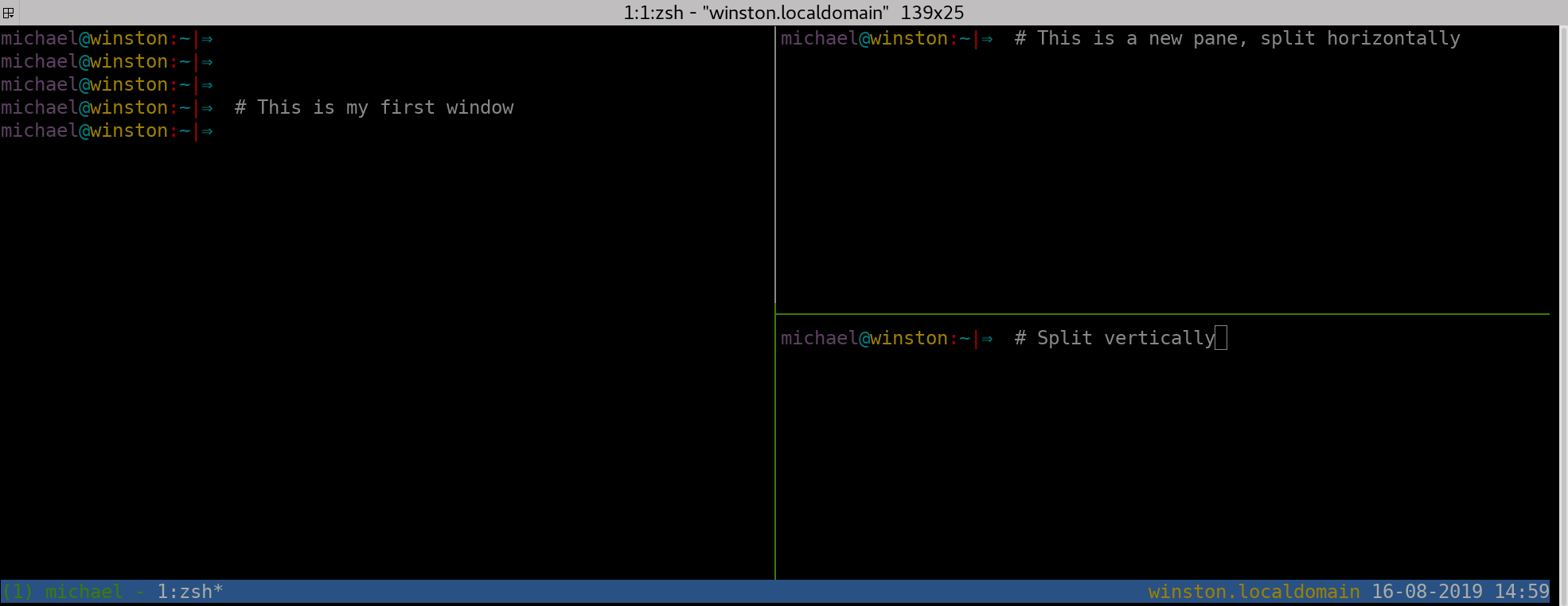 Splitting a tmux window in vertical panes